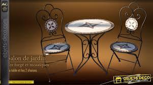 table ronde mosaique fer forge salon de jardin mosaïques et fer forgé