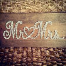 Nice Mr Mrs String Art Sign Rustic Wedding Decor Neutral Color Nail And Decoration Gift