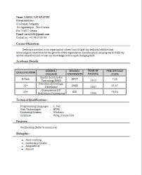 13 Fresher Resume With Project Details