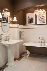 Wainscoting Bathroom Ideas Pictures by Ceramic Subway Tile Wainscoting And Hex Mosaic Is Always A Classic