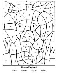 Color By Number Zoo Animals Farm Easy Coloring Pages Elephant