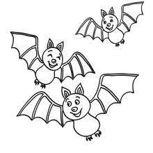 Cat Bat Monster Bats Flying Coloring Page