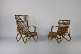 Vintage Set Of 2 Lounge Chairs In Rattan