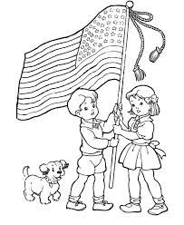Flag Day Two Excited Kids And Dog On Coloring Pages