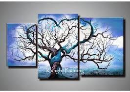 Origin Life Wall Art 3 Piece Blue Handmade Canvas Photography Tree Winter Abstract Fashion Unframed Painting
