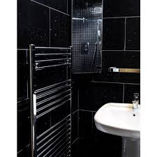 mirror black quartz wall and floor tile 600x600
