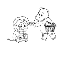 Kindness Is Give Flower To Sad Lion Colouring Page