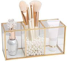 badezimmer organizer mit 3 fächern kosmetik organizer aus acryl make up aufbewahrung kunststoff becher für schminke luxuskosmetik aufbewahrungsbox