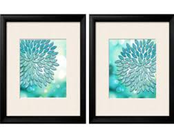 Turquoise Teal Wall Art Home Decor Dahlia Floral Abstract