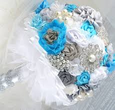 Blue And Silver Wedding Flowers Brooch Bouquet Turquoise White Winter