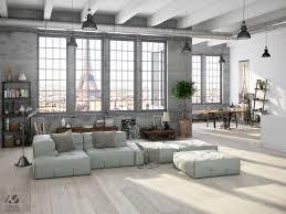 interior industrial living room set grey block l sofaconsole