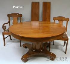 Empire Style Circular Mahogany Pedestal Base Dining Table And A Set Of Twelve Chairs