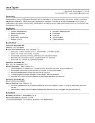 Resume Highlights Examples Accounts Payable Specialist Sample Career