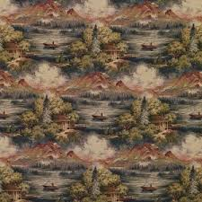 J9600B Cabin In The Wilderness Woven Decorative Novelty Upholstery Fabric By Yard