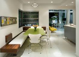 dining benches and banquettes in kitchen midcentury with built in