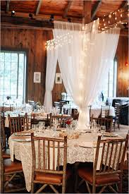 Rustic Indoor Wedding Reception With Tulle Draping