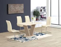 GA Vico Cream Gloss Designer 120 Cm Dining Set & 4 Araceli Or Sicily Chairs