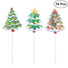 Amazoncom BESTOYARD 10pcs Christmas Tree Shape Cake Topper