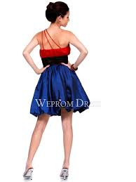 line taffeta dark royal blue red crystal shirring ribbon shoulder