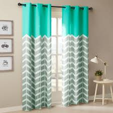 Curtains With Grommets Pattern by Amazon Com Alex Chevron Printed Grommet Top Panel Pair Aqua 63