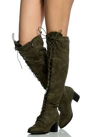 olive faux suede lace up knee high chunky boots cicihot boots