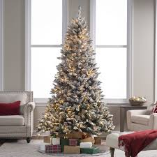 Flocked Blue Ridge Spruce Christmas Tree With Instant Glow Power Within Lightly Trees