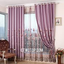 light purple living room curtains with gauze and cloth fabric