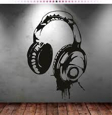 Headphones Music DJ Wall Stickers ART Decal