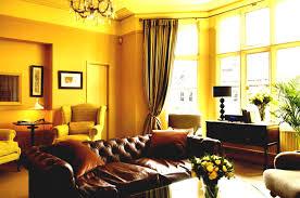 Brown Leather Sofa Decorating Living Room Ideas by Cozy Brown Leather Sofa For Yellow Living Room Design Ideas