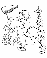 Little Girl Catch Butterfly On Garden Spring Coloring Pages