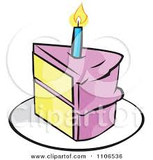 Pink Slice Birthday Cake With A Candle