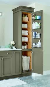 Home Depot Bathroom Cabinets by A Linen Closet With Four Adjustable Shelves A Chrome Door Rack