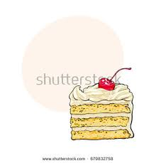 Hand drawn piece of classic layered cake with vanilla cream and cherry decoration sketch style