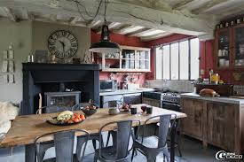 table de cuisine vintage with a totally different light fixture maybe benches instead of