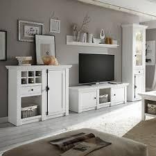 details zu wohnwand weiß landhaus anbauwand wohnzimmer set 4 teilig westerland 2