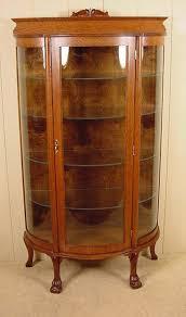 Small Oak Claw Foot Curio Cabinet