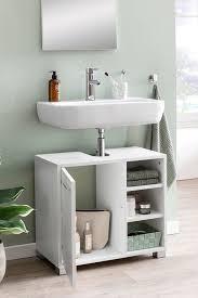 finebuy waschbeckenunterschrank fb51390 60 x 55 x 32 cm weiß badschrank mit tür holz unterschrank waschbecken badezimmer waschtischunterschrank