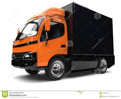 Orange Small Box Truck With Black Trailer Stock Illustration ...