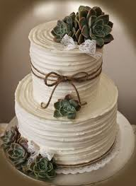 Rustic Wedding Cake With Succulents