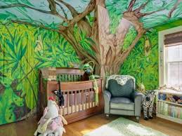 Tree Wall Decor Baby Nursery by Jungle Themed Baby Nursery With Stripes Walls And Animal Wall