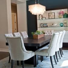 Trendy Dark Wood Floor Dining Room Photo In Phoenix With Blue Walls
