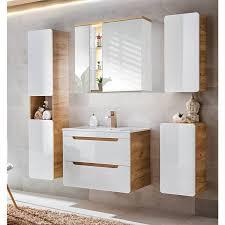 badezimmer set in hochglanz weiß wotaneiche luton 56 mit 80cm keramik