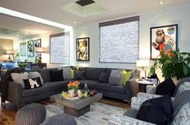 Corner Sofa Decorated With Gray And Green Pillows Luxury Living Room Set