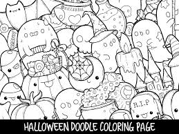Halloween Doodle Coloring Page Printable Cute