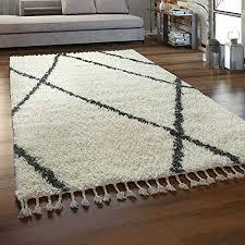 paco home hochflor teppich wohnzimmer shaggy skandinavischer stil mit fransen creme grau grösse 80x150 cm