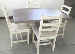 100 Oak Pedestal Table And Chairs Custom Made Old In Driftwood Finish Seen With