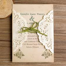 Rustic Lace Pocket Green Ribbon Wedding Invitations Ewls005 As Low Within Vintage Diy
