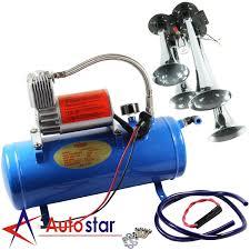 100 Truck Air Horn Kit 4 Trumpet 120PSI Compressor 1ft Hose 12V 150dB Train