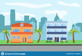 100 Three Story Houses Vector City With Twostory And Story Cartoon And Palm