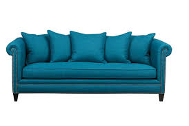 Crate And Barrel Axis Sofa Cushion Replacement by Home Furnishings His U0026 Hers Hers U201ctailor U201d Peacock Blue Sofa